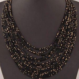 Bohemian Black Beaded Multi-strand Necklace